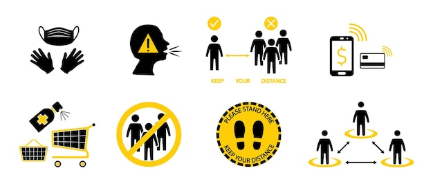Bezpieczne zakupy. dystans społeczny. dołączone ikony jako maska i wymagane rękawiczki, czysty koszyk, unikaj zatłoczenia, zachowaj dystans i płatności zbliżeniowe. utrzymywanie dystansu między ludźmi.wektor