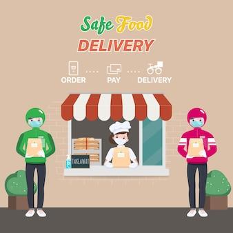 Bezpieczne zamówienie i dostawa żywności. zostań w domu i unikaj rozprzestrzeniania się koronawirusa.