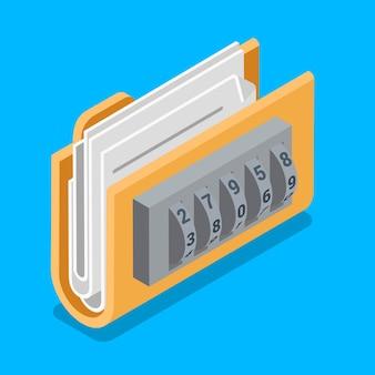 Bezpieczny folder plików danych z ikoną blokady kodem pierścieniowym