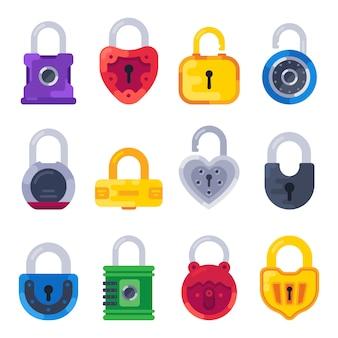 Bezpieczny mechaniczny zamek. bezpieczny klucz kłódka, złote zamki i mosiężne kłódki izolowany płaski zestaw