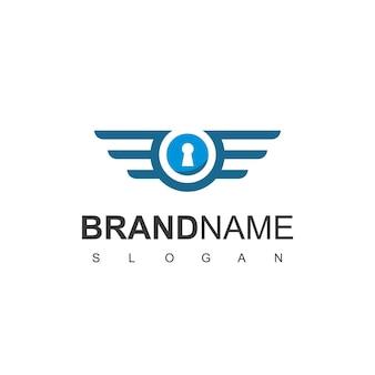 Bezpieczny projekt logo z symbolem dziurki od klucza i skrzydeł