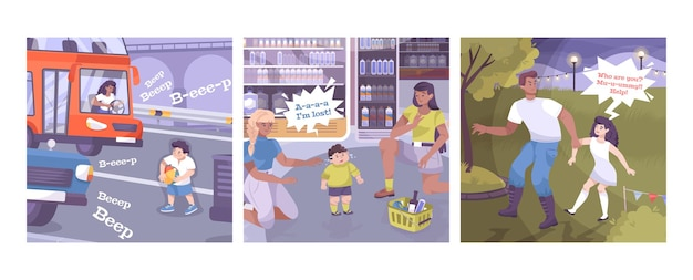 Bezpieczny zestaw kwadratowych kompozycji z postaciami dla dzieci i dorosłych w różnych potencjalnie niebezpiecznych sytuacjach