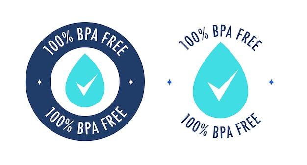Bezpłatna etykieta wektorowa bpa z kroplą wody do nietoksycznych plastikowych butelek z wodą pitną z tworzywa sztucznego
