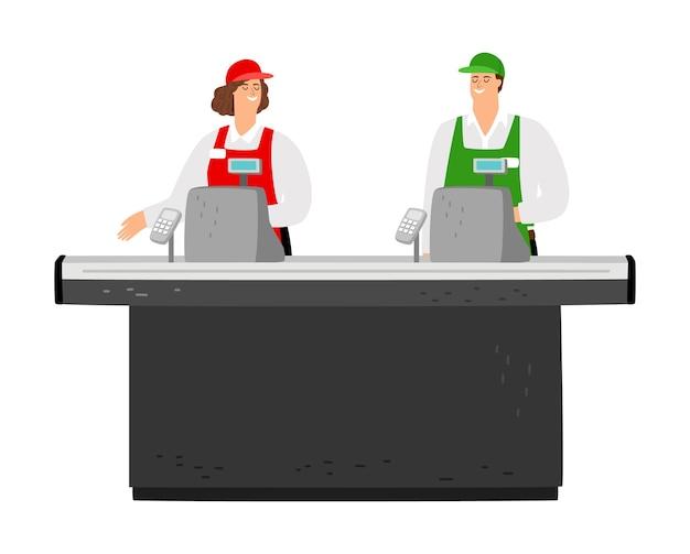 Bezpłatna kasa. szczęśliwy kasjerów wektor znaków. personel supermarketu, pusta kasa na białym tle