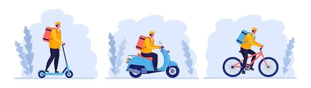 Bezpłatna szybka dostawa na rowerze, hulajnodze, hulajnodze. kurier dostarcza jedzenie na zamówienie. mężczyzna podróżuje z paczką. śledzenie przesyłek online. ekspresowa wysyłka. projekt