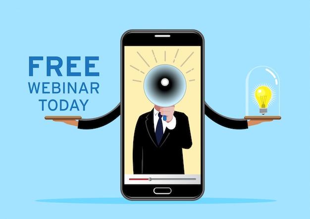 Bezpłatne seminarium internetowe na telefonie komórkowym