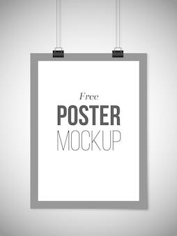 Bezpłatny szary szablon plakatu wisi