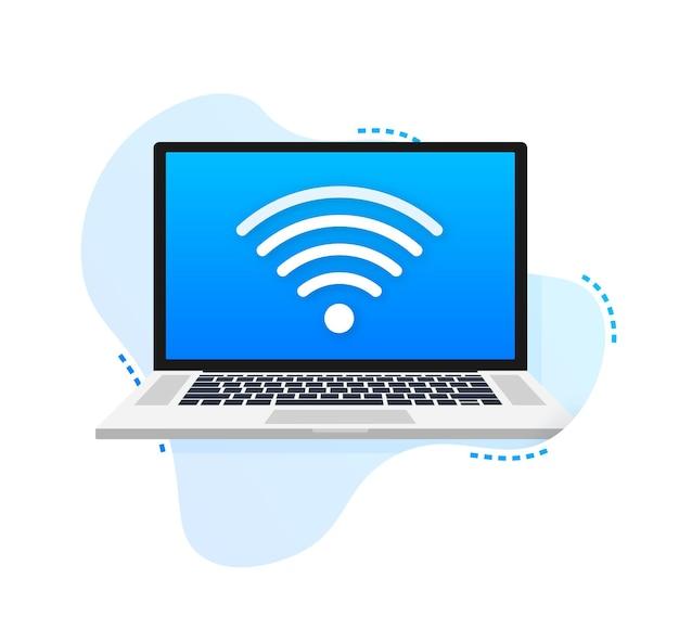 Bezpłatny znak wi-fi z laptopem. ilustracja wektorowa.
