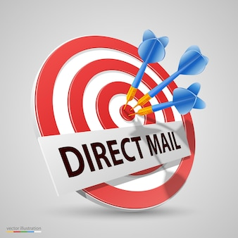 Bezpośredni cel poczty, obiekt ikony dart. ilustracja wektorowa