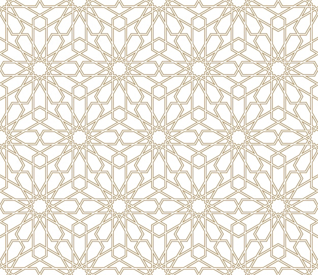 Bezproblemowa arabski ornament geometryczny w kolorze brązowym.