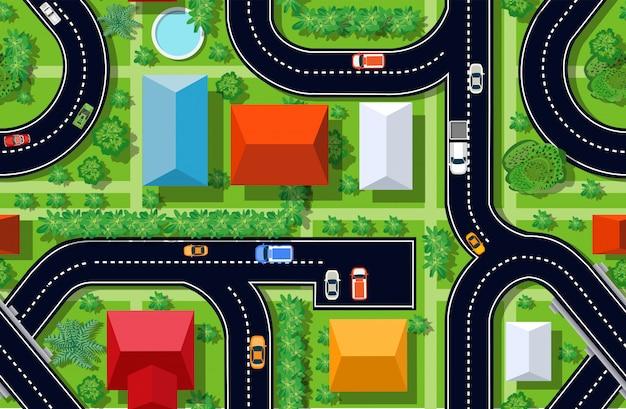 Bezproblemowa powtarzanie tła miejskiego. widok z góry