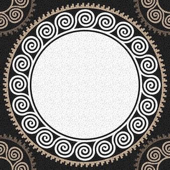 Bezproblemowa tradycyjny biały grecki ornament vintage (meander) i fala na czarnym tle