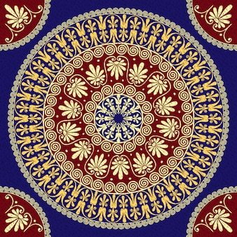 Bezproblemowa tradycyjny złoty złoty okrągły ornament grecki (meander) i kwiatowy wzór na tle czerwony i niebieski