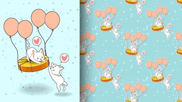 Bezproblemowa urocza kot leci ze wzorem balonu złotej monety