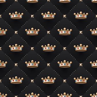Bezproblemowa złota tupot i korona królewska z diamentem