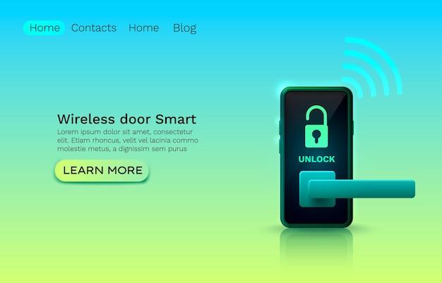 Bezprzewodowa inteligentna ochrona drzwi, klucz aplikacji urządzenia, innowacja w witrynie internetowej.