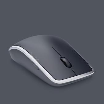 Bezprzewodowa, nowoczesna czarna mysz z kółkiem na szarym tle