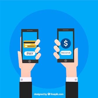 Bezprzewodowa płatność za pomocą dwóch smartfonów