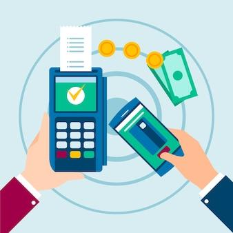 Bezprzewodowa płatność za pomocą telefonu i pieniędzy