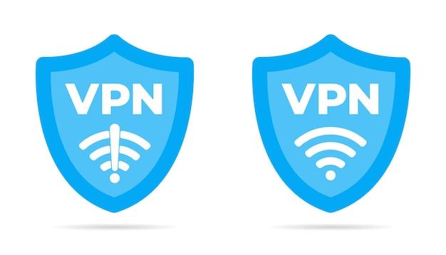 Bezprzewodowa tarcza vpn wifi i brak ikony vpn znak płaska konstrukcja ilustracji wektorowych zestaw