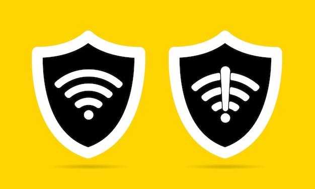 Bezprzewodowa tarcza wifi ikona znak zestaw ilustracji wektorowych płaska konstrukcja