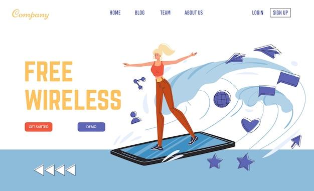 Bezprzewodowe bezpłatne wi-fi publicznie ocenia stronę docelową strefy hotspot. młoda kobieta jeżdżąca smartfonem jak deska surfingowa cieszy się szybkim surfingiem. szybki internet mobilny. nieograniczony ruch do komunikacji online