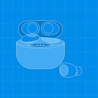 Bezprzewodowe słuchawki douszne, niebieska obudowa, ilustracja wektorowa urządzenia rozrywkowego