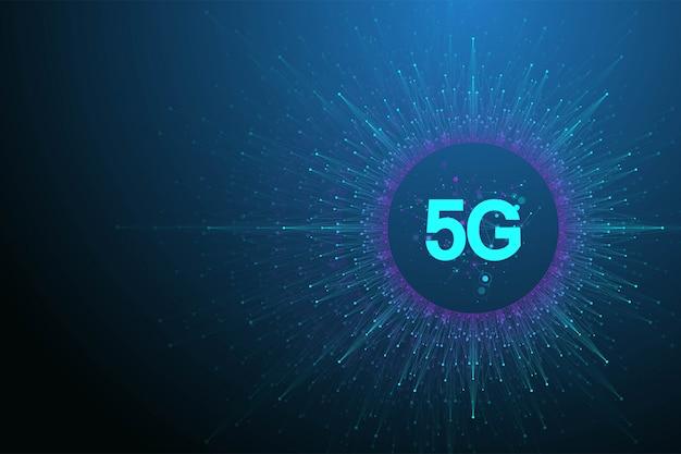 Bezprzewodowe systemy sieciowe 5g i ilustracja internetowa. baner sieci komunikacyjnej