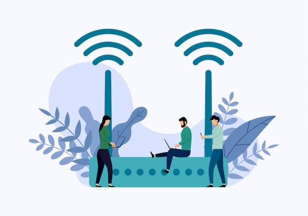 Bezprzewodowy modemowy router ethernet ze znakami