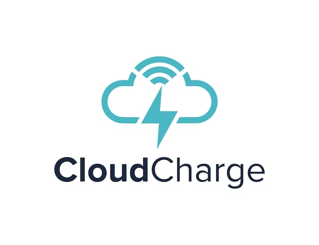 Bezprzewodowy z symbolami chmury i ładowania prosty, elegancki, kreatywny, geometryczny, nowoczesny projekt logo
