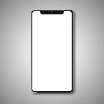 Bezramkowy smartfon z białym wyświetlaczem.