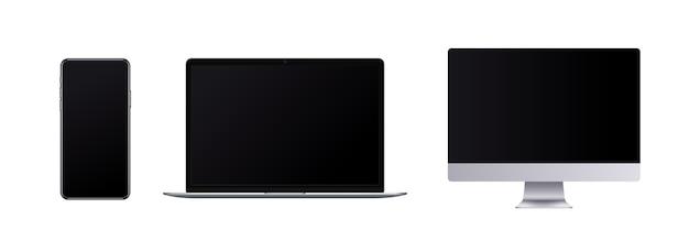 Bezramowy zestaw urządzeń, realistyczny telefon komórkowy, laptop i komputer z pustym ekranem w nowoczesnym stylu.