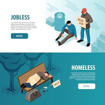 Bezrobotni i bezdomni z biednymi i głodnymi izometrycznymi ilustracjami