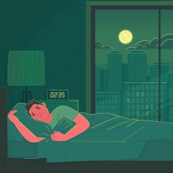 Bezsenność. smutny i zmęczony mężczyzna nie może spać leżąc w łóżku w nocy. stres i niepokój. ilustracja wektorowa w stylu płaski