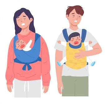 Bezsenny wyczerpany rodzic dziecko napad złości noworodek
