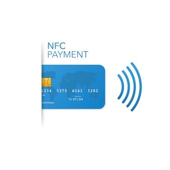 Bezstykowa karta kredytowa z falą radiową na zewnątrz, płatność kartą kredytową