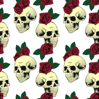 Bezszwowa czaszka i róże