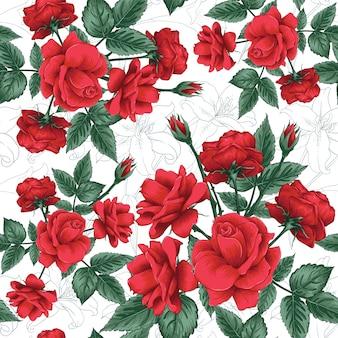 Bezszwowa deseniowa czerwieni róża i lilly kwitniemy tło.