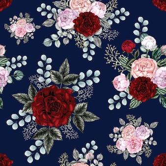 Bezszwowa deseniowa czerwieni róża kwitnie tło.