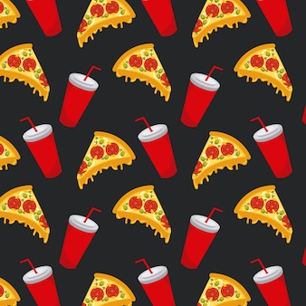 Bezszwowa deseniowa fast food pizzy sodowana filiżanka