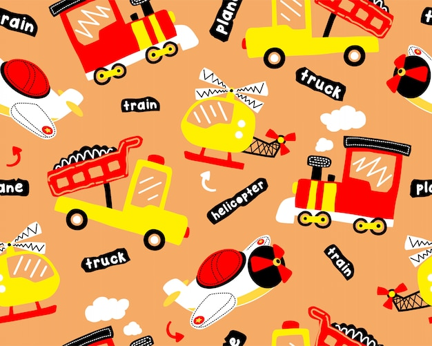 Bezszwowa deseniowa kreskówka z pojazdami transportowymi