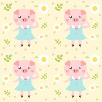 Bezszwowa deseniowa śliczna świnia i mały kwiat.