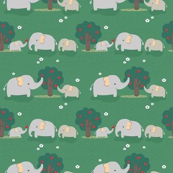 Bezszwowa deseniowa słoń rodzina w lesie.