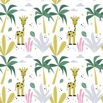 Bezszwowa deseniowa tapeta z żyrafą i drzewkami palmowymi