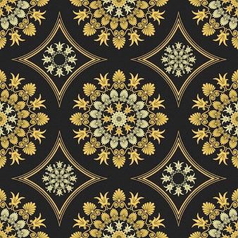 Bezszwowa elegancka koronkowa złota ozdoba