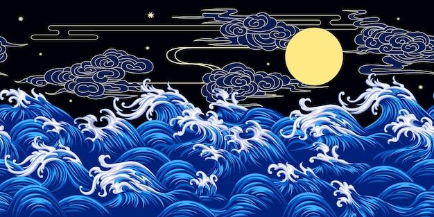 Bezszwowa granica z ozdobnymi falami w stylu orientalnym
