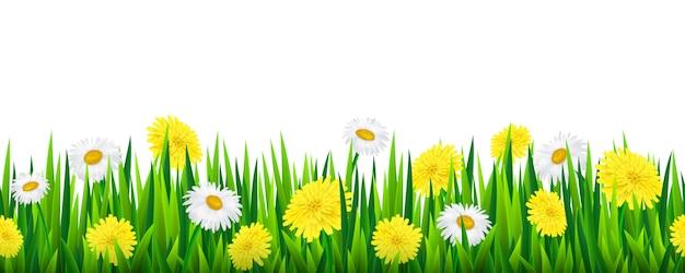 Bezszwowa granica z trawą i kwiatami