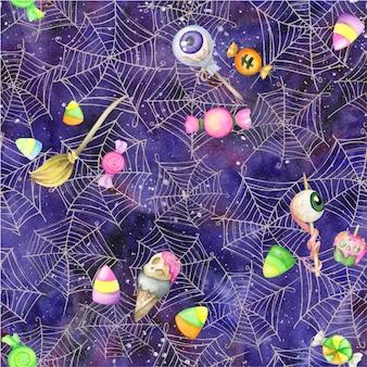 Bezszwowa ilustracja. akwarela słodycze, ciasta, akwarela bezszwowe wzór, na niebieskim tle i pajęczyny. na święta halloween
