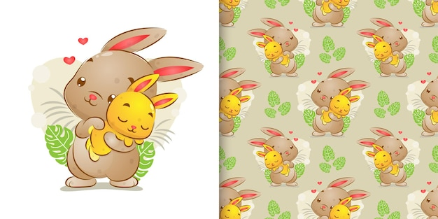 Bezszwowa ilustracja dużego królika trzyma swoje dziecko i śpi