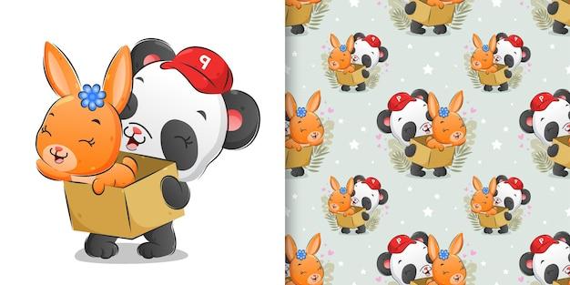 Bezszwowa ilustracja kurierskiej pandy trzymającej pudełko słodkiego królika